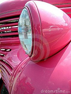 Vintage Pink Hot Rod & Headlight by Joneil
