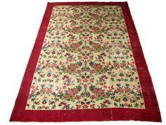 www.aksaraycarpet.com #carpet #rug #vintage #handmade #handwoven #etsy  #floral #flower #allover Turkish Artdeco Rug Floral Design 122 x 87