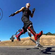 Bionic boots let you run 70 km/h.... (40mph) Future Gadgets, New Gadgets, Cool Gadgets, Cool Technology, Wearable Technology, Technology Gadgets, Drone Technology, Latest Technology, Fancy Shoes