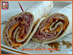 Bacon Ranch Wraps Recipe Lunch with ham, turkey, colby jack cheese, chopped bacon, ranch dressing, flour tortillas