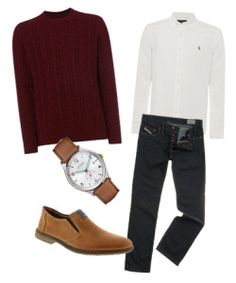 This outfit works well for a pub-crawl or movie night with the guys. Wear this white Ralph Lauren shirt under a cosy, casual cable knit red jumper. Finish with a pair of navy jeans and light brown shoes. www.urbansocial.com