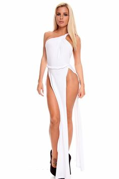 WHITE SEXY HIGH SLIT SLEEVELESS ONE SHOULDER LONG ROMAN TOGA MAXI DRESS