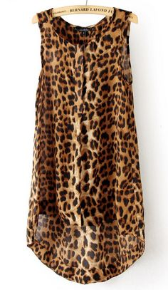Leopard Sleeveless High Low Chiffon A Line Dress