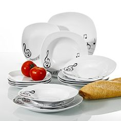 Veweet MELODY 18pcs Assiettes Pocelaine Service de Table 6pcs Assiettes  Plates 24,7cm, 6pcs Assiette Creuse 21,5cm, 6pcs Assiette à Dessert 19cm  Vaisselle ... 3bc80fea2a18