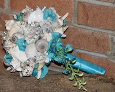 Blue Teal Cascading Seashell Bouquet by SlyCreationsBouquets, $122.00