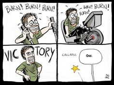 Exercise - Burn and Crash cartoon by Kevin Moore