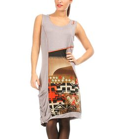 Love this Gray & Red Abstract Sleeveless Dress on #zulily! #zulilyfinds