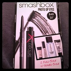 ✨SMASHBOX PHOTO OP EYES NWT-IN BOX ‼️✨ This SMASHBOX PHOTO OP EYES package comes w/ Everything you need to get perfectly primed, lined, & defined- & then take it all off w/this set of must haves for photo ready eyes! Includes: Travel size Layer Lash Primer •Deluxe sample Hydrating Under Eye Primer •Travel size 24 hr Shadow Primer • Always Sharp Waterproof Kohl Liner in Raven •Full Exposure Mascara •Travel size Waterproof Makeup Remover = 2 Full size Products and 4 Travel size. So you can…