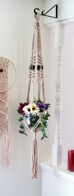 "Macrame plant hanger with beads, 45"" PEARL, hanging planter, plant holder, hanging basket, pot holder, white, large, natural, modern, rustic, macrame plant holder, modern macrame, home decor, bohemian, plant decor, wedding decor"