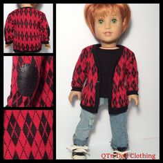 Red and black cardigan by Qtpie_doll_clothing on Etsy. Made with the Classic Cardigan Bundle pattern, found at http://www.pixiefaire.com/products/classic-cardigan-bundle-18-doll-clothes. #pixiefaire #libertyjane #classiccardiganbundle