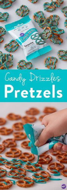 Candy Drizzles Pretzels - This quick handmade treat is easy and fun to do to with the whole family. Great for snacking or serving at a baby shower or birthday party, these candy drizzled pretzels are sure to be a crowd pleaser. Mix and match colors to suit your occasion by shopping the whole collection of Candy Melts Candy Drizzle Pouches. #BabyShower