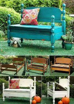 Vieux lit transformé en banc de jardin