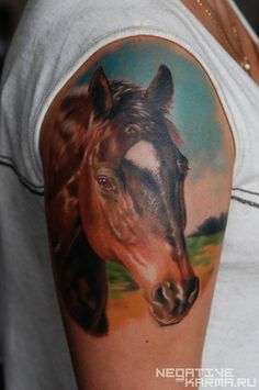 Horse tattoo by Den Yakovlev. I'd love to do this but with Kaylee's markings and name at the bottom