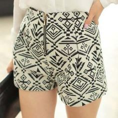 $7.46 Zipper Ethnic Style Totem Pattern Cotton Blend Color Matching Shorts For Women