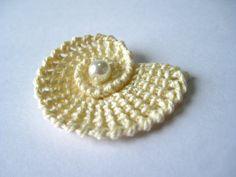Crochet Sea Shells Applique with Pearls in Cream