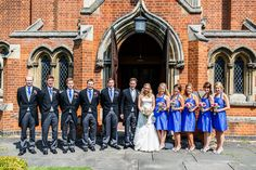 Images by Lina and Tom - Ian Stuart Bridal Gown for a Rustic Wedding in a Barn in Suffolk with Hand Sewn Cobalt Blue Bridesmaid Dresses, DIY Flowers and an Ice Cream Cart.