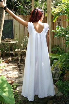 """In the Shadow of Moonlight"" Cotton & Lace Nightgown by 'SarafinaDreams' in Hollywood, Fla. — $115 