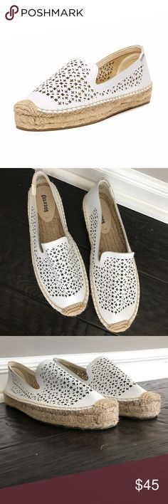 Soludos Leather White Espadrilles Never worn! Naturally tanned, smooth leather is laser cut with an intricate design inspired by Moroccan tile designs to dress up the platform espadrille for poolside to city side chic. Soludos Shoes Espadrilles
