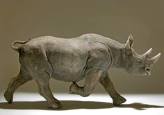 Black Rhino in Raku-fired Ceramic by Nick Mackman **WANT**WANT**WANT**