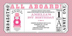 Girl Train Birthday Invitation, more party pictures on website.