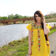 Yellow floral embroidered Spanish dress