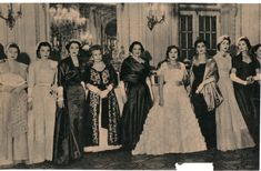 A royal Gathering, Circa 1951.R-L: Princess Neslishah, Princess Hanzadeh, Queen Nariman of Egypt in white dress. L-R: Princess Faika of Egypt, Princess Fawzia of Egypt, Princess Faiza of Egypt.