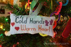 Christmas DIY: Cold Hands Warm Heart Cross Stitch