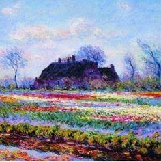 Tulip Fields at Sassenheim by Claude Monet Renoir, Claude Monet, Monet Paintings, Landscape Paintings, Artist Monet, Manet, Ouvrages D'art, Impressionist Paintings, Pics Art