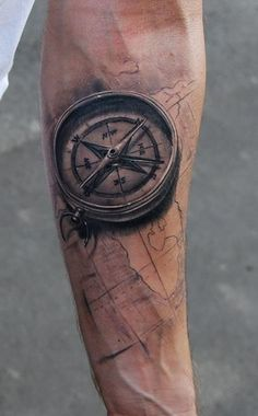 Black Ink 3D Compass With Map Tattoo On Forearm
