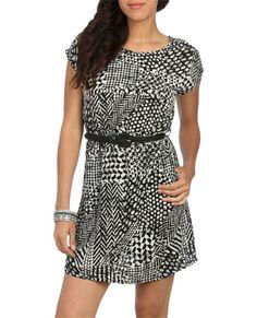 Belted Print Dolman Dress - Casual Dresses
