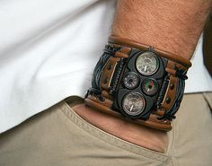 Men's Wrist Watches Leather Gifts for Men bracelet by dganin, $170.00