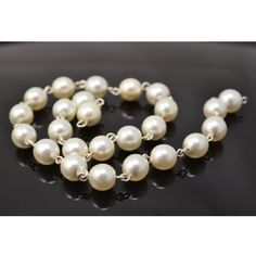 WHITE PEARL ROSARY|Beautiful and classic hand-linked pearl chain featuring 6mm Czech White Pearls on silver links. These links can be gently opened and closed to customize length.  Made in the Czech Republic.   [3ft-$15]