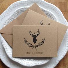 """Cartes de Noël 10pk rustique Stag Kraft recyclé Noël cartes & enveloppes joyeux Noël Stag Laurel 4 x 6"""" env. Unique des cartes de Noël"""