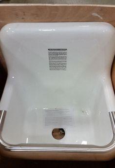 New Eljer 242 0125 Service Sink With Plain Back White W/ Ss Rim Gaurd