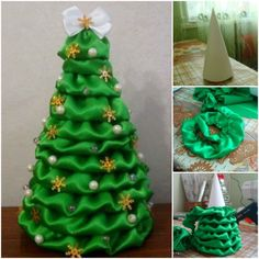 How to DIY Satin Fabric Christmas Tree | www.FabArtDIY.com LIKE Us on Facebook ==> https://www.facebook.com/FabArtDIY