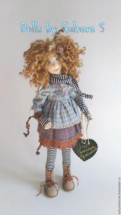 Купить Текстильная каркасная кукла. Авторская работа - бордовый, голубой, лиловый, сирень, ручная работа