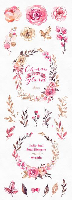 This is an glamourous floral collection includes separate floral elements and wreaths. Perfect graphic for logo, craft projects, scrapbooking, brand identity, invitations, cards, photos, posters, wallarts, quotes, diy and more.  -----------------------------------------------------------------  INSTANT DOWNLOAD Once payment is cleared, you can download your files directly from your Etsy account.  -----------------------------------------------------------------  This listing includes 25…