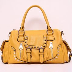New,Solid Pattern Stud Decorate Purse, Pocket & Buckle Accent Satchel,NWT ebay