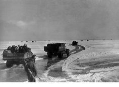 Lake Ladoga – the ice road that saved Leningrad . A view of the ice road during April 1942 when the journey became was even more hazardous as the ice began to melt. Battle Of Moscow, The Siege, Total War, Journey, Red Army, Rare Pictures, Summer Garden, Military History, World War Two