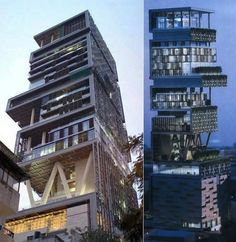 "Mukesh Ambani's Billion-Dollar Home. Kind of an eyesore, but comeon, it's a billion dollars and a ""27-story house with a staff of 600, 3 helicopter pads on the roof, and a 160-vehicle parking garage. The house is reported to have 37,000 square meters of space: More than the Palace of Versailles."""