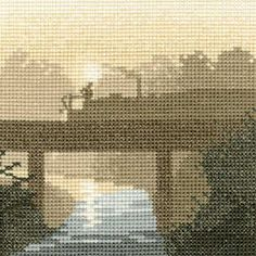 Canal Crossing - Sepia Cross Stitch kit by Heritage Crafts