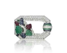 An art deco multi-gem and diamond brooch, by Mauboussin. The pavé-set diamond openwork hexagonal frame decorated with carved emerald, sapphire and ruby leaves, enhanced by black enamel detail, to the calibré-cut emerald, sapphire and baguette-cut diamond bombé motif, 1920s,