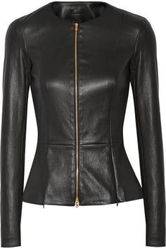 Black leather Two-way zip fastening through front 100% leather (Lamb); lining…
