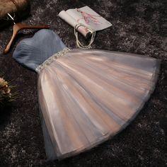 Cute grey/black Strapless short prom dress,homecoming dress,bridesmaid dress