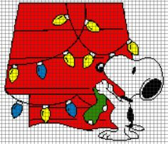 Snoopy Christmas Crochet Graphghan Pattern (Chart/Graph AND Row-by-Row Written Instructions) Cross Stitch Christmas Stockings, Christmas Stocking Pattern, Xmas Cross Stitch, Christmas Cross, Cross Stitching, Cross Stitch Embroidery, Cross Stitch Designs, Cross Stitch Patterns, Graph Crochet