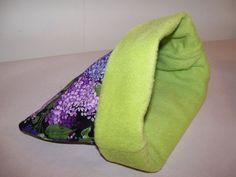 "Purple Flowers XL Guinea Pig Pouch Bag Cozy Bed Snuggle Ferret Sleep 11"" x 11'' #GuineaPigParadise"