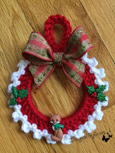 Hand Crochet Christmas Ornament, Christmas Ornament , wall hanging, etc. Hand crochet around 2 in. Crochet Christmas Wreath, Crochet Wreath, Crochet Christmas Decorations, Crochet Ornaments, Christmas Crochet Patterns, Holiday Crochet, Santa Ornaments, Crochet Crafts, Christmas Tree Ornaments