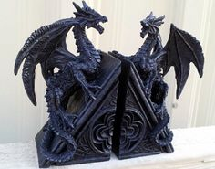 Gothic Dragon Bookends Midieval Book Ends Evil Medieval - Black Dragon Bookends bombayjewel http://www.amazon.com/dp/B00FZH7A5G/ref=cm_sw_r_pi_dp_0spTvb1Q6QXE3
