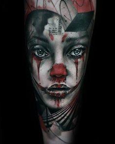 75 Clown Tattoos For Men - Comic Performer Design Ideas Clown Tattoo, Creepy Tattoos, Good Clowns, Clown Images, Tattoos For Guys, Tatoos, Scary, Halloween Face Makeup, Comics