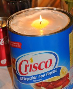 Make an emergency candle out of Crisco. Simply put a piece of string (or wick) in a can of Crisco, light it and it will burn up to 45 days.